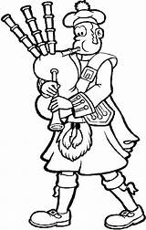 Kilt Bagpipes Coloring Man Plays Playing sketch template