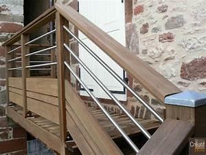 Garde Corps Terrasse Bois : escalier bois avec garde corps inox et bois meyssac ~ Dailycaller-alerts.com Idées de Décoration