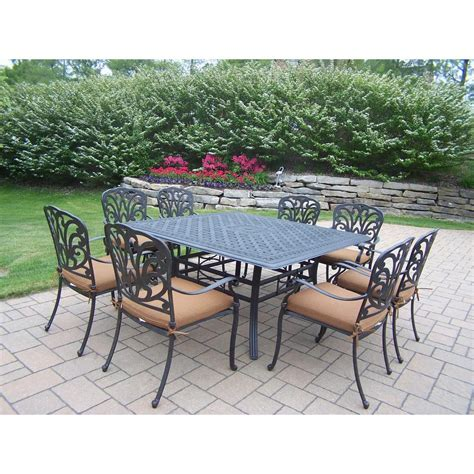 oakland living cast aluminum 9 square patio dining