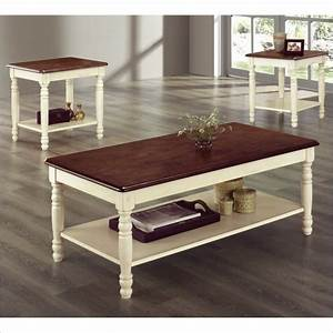 Homelegance ohana 3 pc occasional white cherry coffee for Antique white coffee table sets
