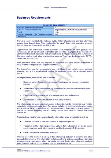 Data Warehouse Business Requirements Template by Data Warehouse Business Requirements Template Image
