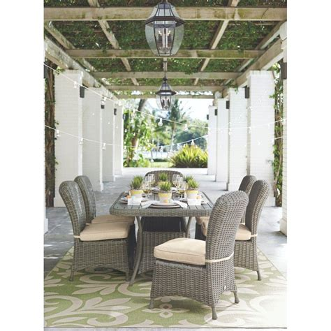 martha stewart living lake adela weathered grey 7 patio dining set with sand cushions