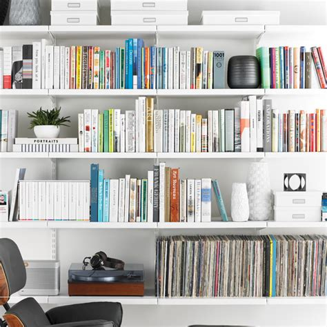 White Elfa Décor Library  The Container Store