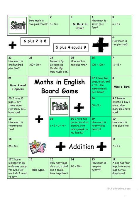 board game maths  english worksheet  esl