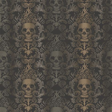 Contemporary Red Rugs by Luther Sand Skull Modern Damask Wallpaper Wallpaper
