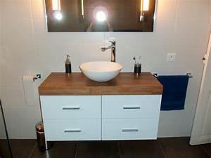 Plan De Travail Salle De Bain Bois : salle de bain plan de travail bois pais sur mesure meuble salle de bainflip design bois ~ Teatrodelosmanantiales.com Idées de Décoration
