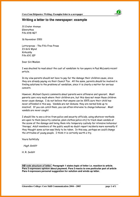 Letter Writing To Editor Of Newspaper  Letters Free