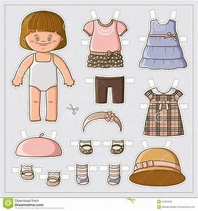 cute paper doll stock vector image 43494530 With paper dress up dolls template