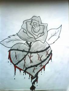 Rose And Heart Drawings In Pencil - PENCIL DRAWING COLLECTION