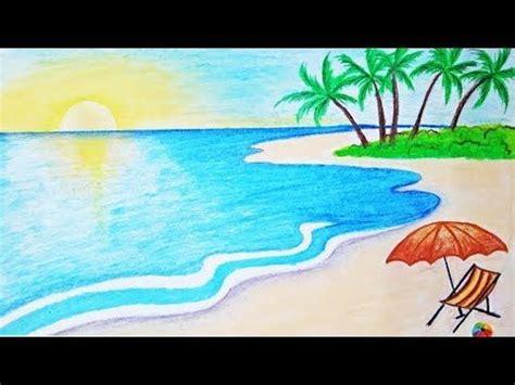 menggambar pemandangan pantai mudah youtube