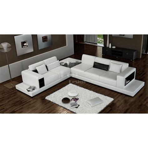 promotion canap canapé d 39 angle design en cuir arezzo xl table intégrée