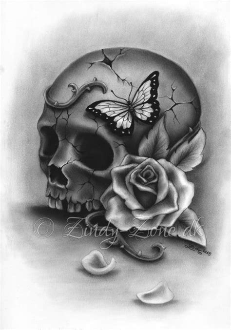 beauty  decay skull rose thorns butterfly tattoo art print etsy