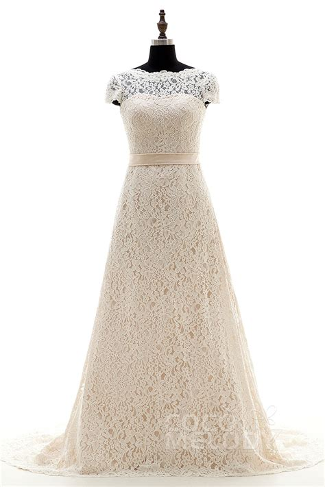 Cocomelody A Line Illusion Court Train Lace Cap Sleeve