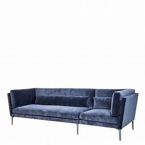 canape 3 places velours bleu rox bloomingville With tapis de gym avec canapé velours 4 places