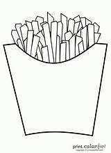 Fries French Coloring Real sketch template