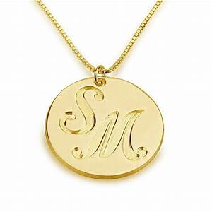 engraved two letter necklace initials name gold plated With engraved letter necklace