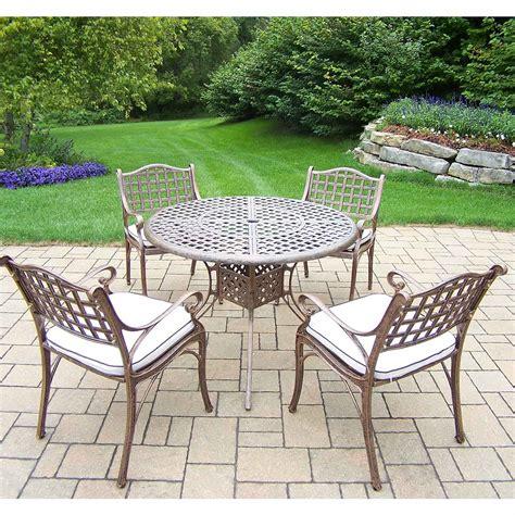 oakland living elite 5 patio cast aluminum dining