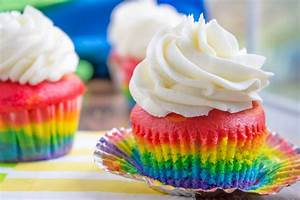 Rainbow Cupcakes with Vanilla Cloud Frosting - Dinner ...