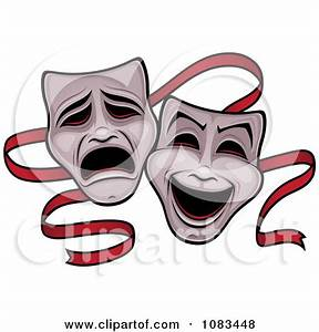 Clipart Comedy And Tragedy Theater Masks And Red Ribbon ...