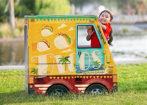 cardboard food truck playhouses  hipster kids