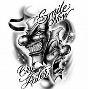 Laugh now cry later joker tattoo design - Tattoos Book ...