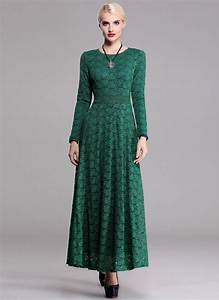 Long Sleeve Dark Green Lace Maxi Dress with Contrast Colored Lining RM u2013 RobePlus