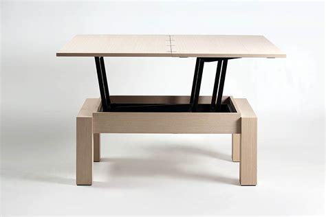 canapé convertible cuir table basse transformable plateau relevable bois de chêne
