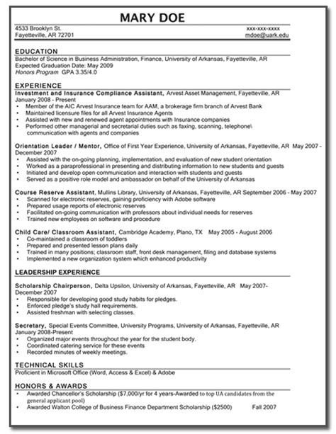 optimal resume at of arkansas