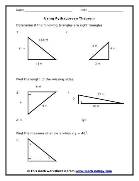 pythagorean theorem worksheets 8th grade worksheets for