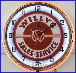 18 Vintage WILLYS Sign Double Neon Clock Jeepster Wagon