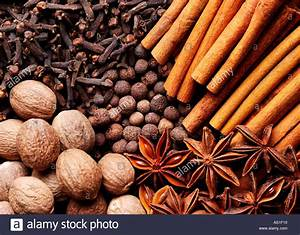 Cinnamon clove anise star nutmeg and allspice background ...