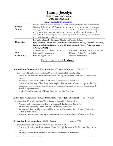 Epic Implementation Consultant Resume by Emr Trainer Resume Sales Trainer Lewesmr