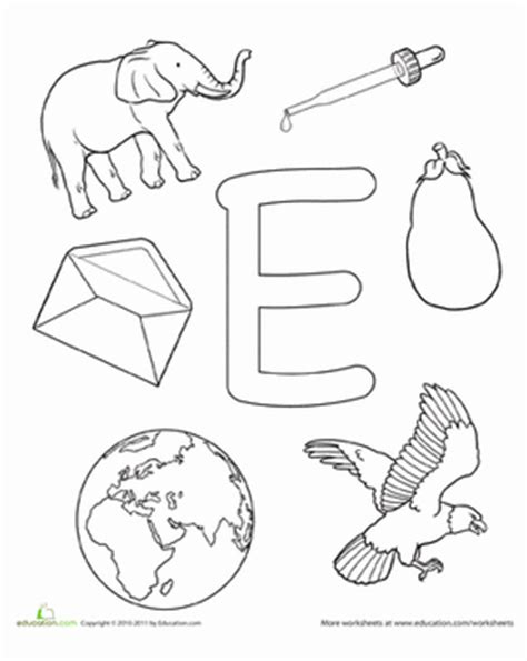 coloring e is for worksheet education