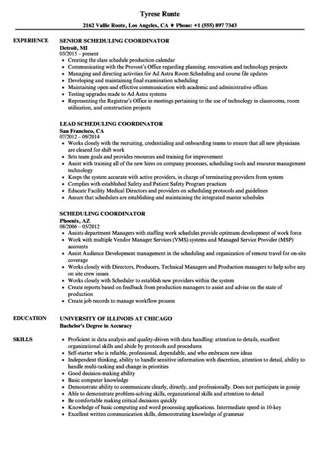 scheduling coordinator resume sle scheduling coordinator resume sle www nyustraus org exaple resume and cover letter