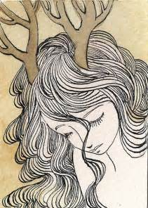 Deer Girl Drawing