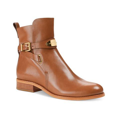 Flat Bootie by Lyst Michael Kors Arley Flat Ankle Booties In Brown