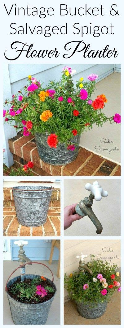 Rustic Planter With Galvanized Bucket Antique Brass