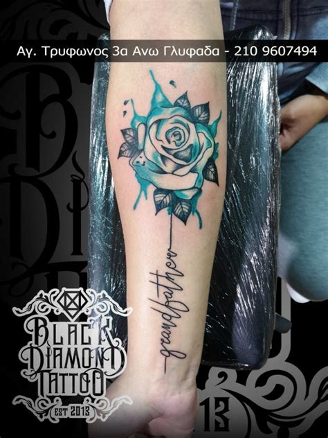watercolor black diamond tattoo