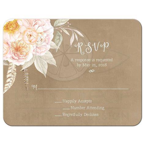 Pink Vintage Floral Peony Border Wedding RSVP Card Kraft