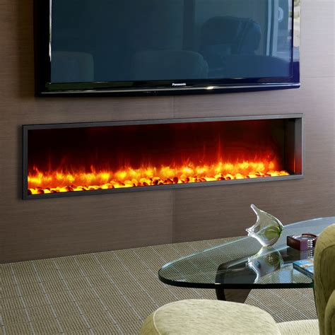 in wall electric fireplace dynasty 63 quot built in led wall mount electric fireplace