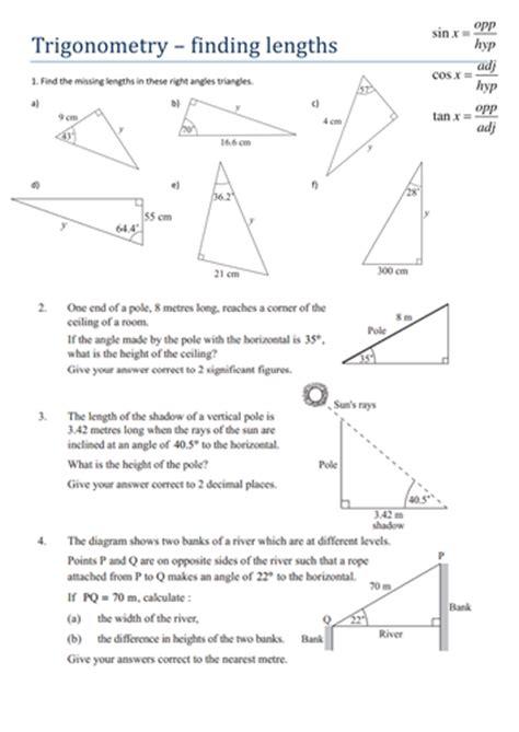 trigonometry finding lengths worksheet teaching