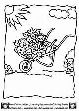 Coloring Garden Pages Gazebo Flower Template Clipart Wheelbarrow Library sketch template