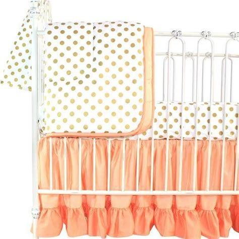 5144 pink and gold baby bedding coral sunset papaya and gold dots ruffle baby bedding