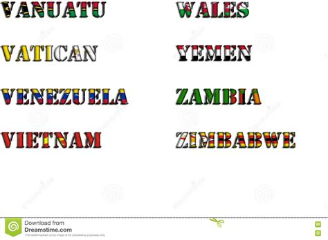 color with z country names in colors of national flags complete set