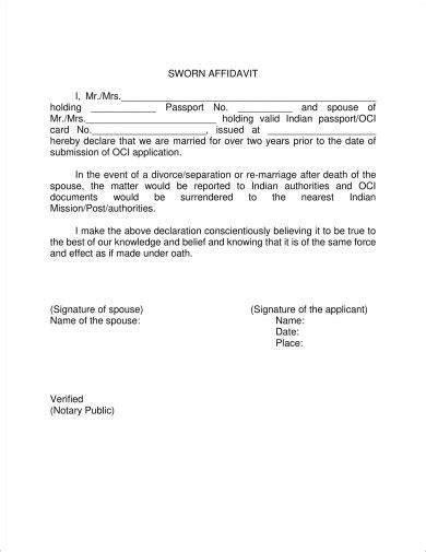 sworn affidavit form examples  examples