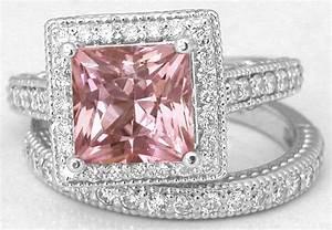 princess cut pink tourmaline engagement ring gr 9193 With pink tourmaline wedding engagement ring