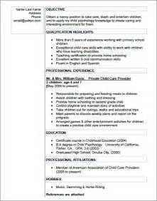 Sle Resume For Nanny by Cv Resume For Nanny 28 Images Nanny Resume Exle Personal Services Sle Resumes Nanny Resume