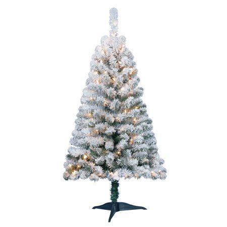 pre decorated trees walmart time pre lit 4 greenfield flocked pine green