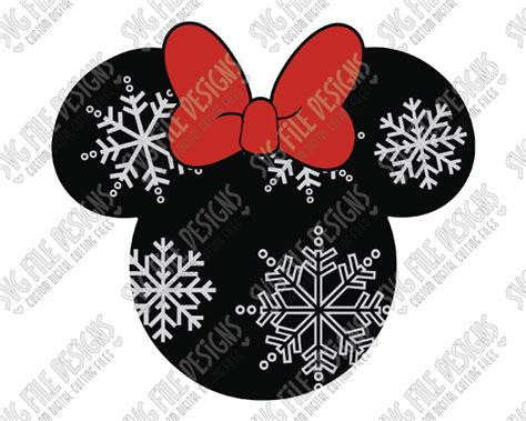 minnie mouse snowflakes svg cut file set  disney