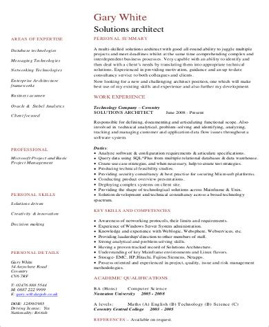 Sle Solution Architect Resume by Sle Architect Resume 8 Exles In Word Pdf